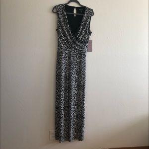 Nina Leonard Leopard Print V-Neck Maxi Jumpsuit